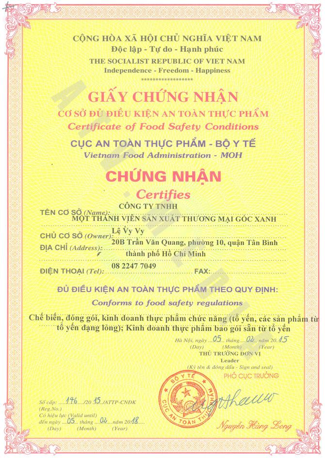 giấy chứng nhận cơ sở đủ điều kiện vệ sinh an toàn thực phẩm
