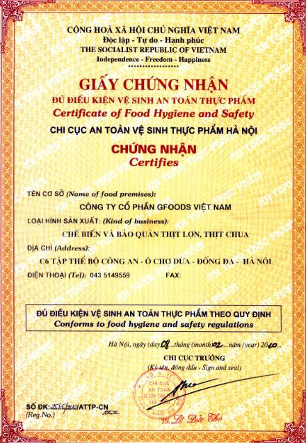 giấy chứng nhận an toàn vệ sinh thực phẩm bánh dẻo nhân đậu xanh